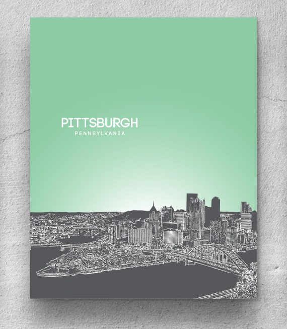 Home Decor Pittsburgh: Home Decor Skyline Art / Pittsburgh Skyline Poster / Any City