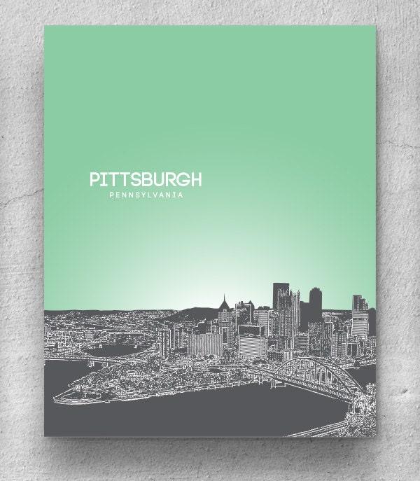 Home Decor Pittsburgh Pa: Home Decor Skyline Art / Pittsburgh Skyline Poster / Any City