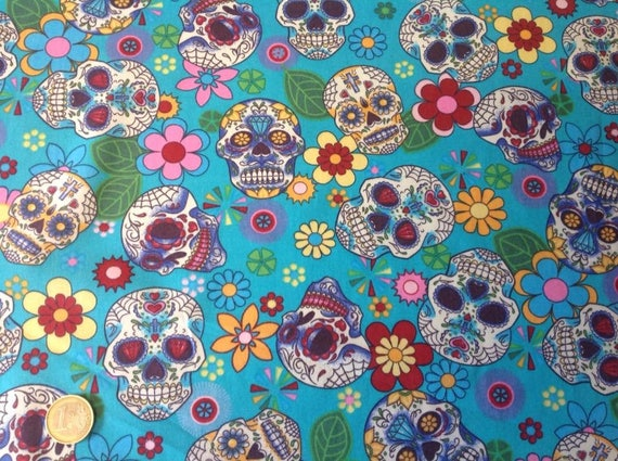 High quality cotton poplin, mexican skulls