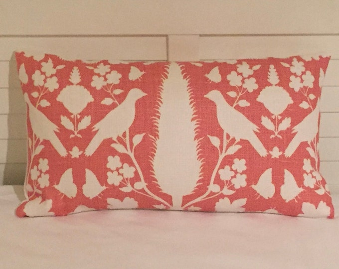 SALE, FREE Shipping, Schumacher Chenonceau in Coral Designer Pillow Cover, Lumbar 14x24
