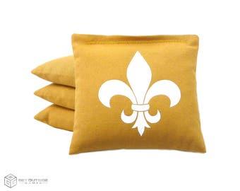 4 Fleur de Lis Classic Series Cornhole Bags   Corn or All Weather with Color Options