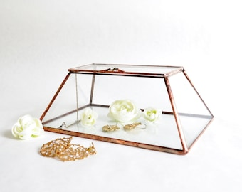 Glass Box Glass Display Box Glass Jewelry Box Wedding Display Box Clear Glass Jewelry Box Truncated Pyramid Box by JacquieSummer