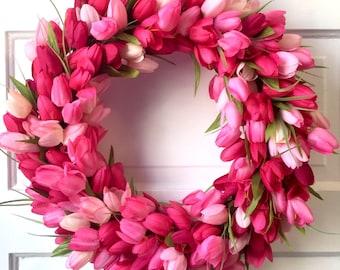 Spring tulip wreath for front door, Pink spring tulip wreath