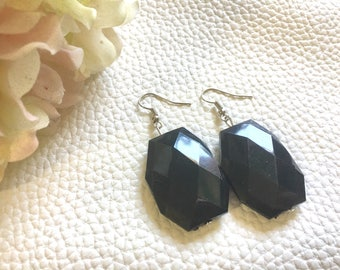 Black Drop Earrings, Faceted Beaded earrings, black jewelry, black earrings, black bridesmaid dress, bridesmaid earrings, drop dangle, black