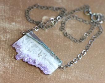 Améthyste Stalactite Druzy tranche Collier argent brut améthyste violet collier