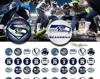 Seahawks 12mm -  1/2 inch or 12 mm Images 4x6 Digital Collage INSTANT DOWNLOAD