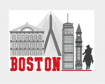Boston Skyline- Kitchen Towel - original Embroidery Art - House Warming