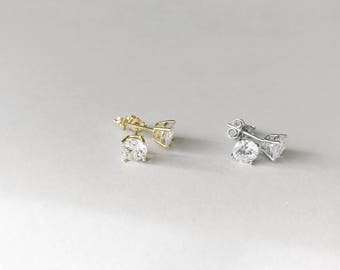 Gift for Her Gold Plated Studs / Classic Silver Earring Studs / Stud Earrings / Gold Plated Sterling Silver Cubic Zirconia Studs 6mm Cubic
