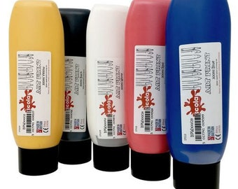 Scola 'Art Print' Block and Lino Printing Ink -  300ml Bottles -  Black, Bright Blue,  Bright Red,  Bright Yellow,  White,  MultiPack (x5)