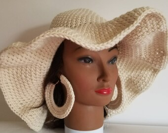 Cream Sun hat with matching hoop earrings crochet summer hat 70s style hippie hat loc hat dreadlocks