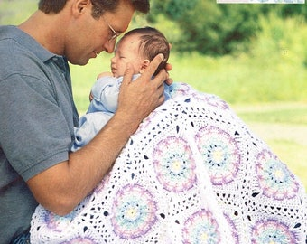 Daddy Time Baby Afghans Leisure Arts Crochet Pattern Book, 7 Baby Afghan Patterns, 1999