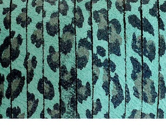 Flat leather 1st quality, skin in Leopard - 5x2mm - color bright - blue/green, black - 20 cm