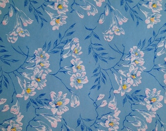 Vintage 1950's/1960's Wrapping Paper: Blue with White Flowers