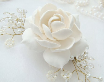 Gardenia Bridal flower comb Bridal hair comb Wedding hair comb Bridal Hair flower Bridal hair accessories Wedding hair accessories