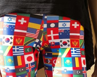 World Flags Spandex Leggings