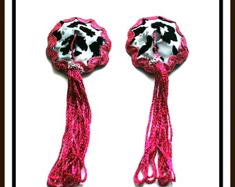Burlesque Style Pasties in Animal Print & Easy Pink Twirl Tassels