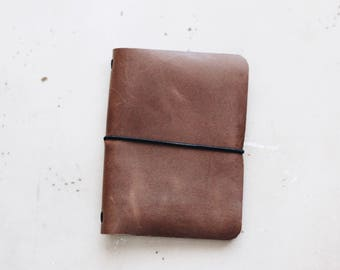 Refillable Leather Pocket Journal Cover / Mini Composition Notebook Cover / Genuine Leather Travelers Notebook