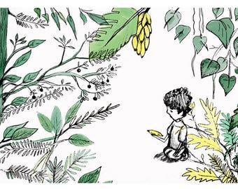 Child banana. Trees of fruit, leaves, patio, fruit, children drawing, digital illustration