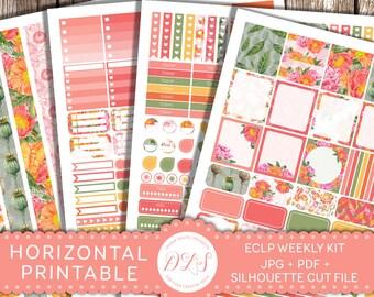 HORIZONTAL Planner Stickers, Erin Condren Horizontal, Weekly Stickers Kit, Printable Planner Stickers, Floral Planner, Poppy Stickers, HS110