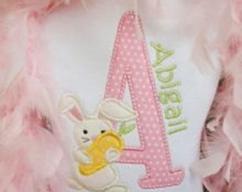 Easter shirt or bodysuit- Bunny shirt with custom name