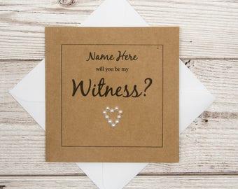 Witness Wedding Card, Will you be my Witness?, Personalised Card, Witness Proposal, Witnesses Card, Wedding Party Invite, Wedding Witnesses