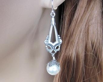 Bridal Pearl Earrings, Bridesmaid Earrings Vintage Inspired Long Pearl Earrings, Vintage Style Mother of the Bride, Wedding Jewelry, Antique