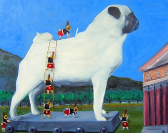 "Pug Art Print of an original oil painting / ""The Trojan Pug"" / 8 x 10 / Dog Art"