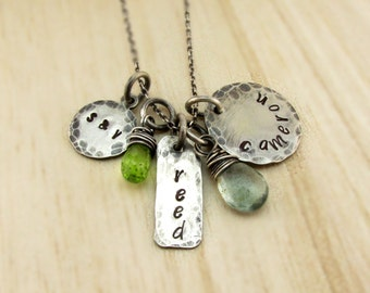 Mother's Necklace Family Necklace Personalized Charm Necklace Rustic Hand Stamped Antiqued Silver Mommy Jewelry Name Necklace Mothers Day
