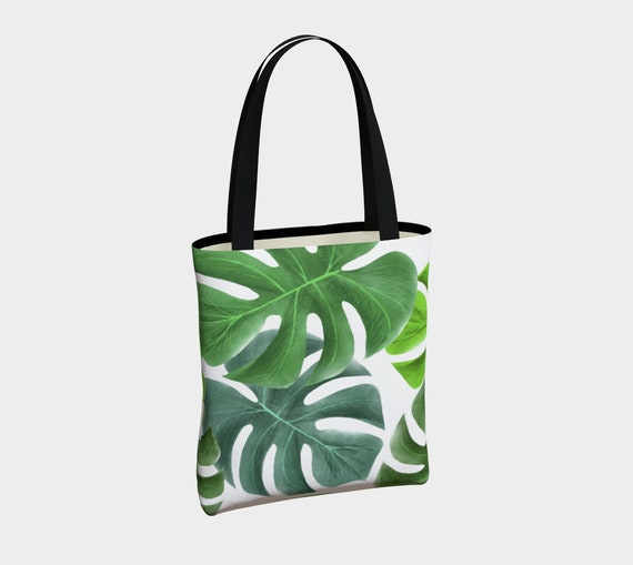 large tropical green leaves tote bag