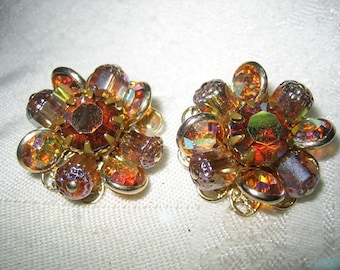 Vintage AB Amber & Topaz Molded Glass Rhinestone Eattings