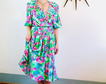 80s Floral Dress, DIANE FREIS dress, Vintage 1980s dress, Aqua Pink Green, Bright Colorful, 80s party dress, Ruffle Puff Sleeves
