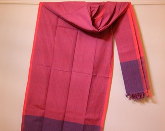 The 'Surekha' Orangish/Pink and Blue Striped Scarf from Weaving Destination 100% Organic Cotton