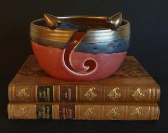 Handmade ceramic  lovebirds curly yarn/wool bowl in gold and raspberry.