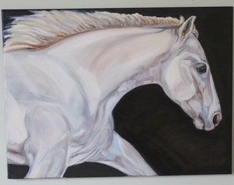 Galloping White Horse Oil Painting, equestrian art, white horse artwork, large white horse, equine fine art, horse painting, white horse