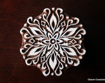 Pottery Stamps, Indian Wood Stamp, Textile Stamp, Wood Blocks, Tjaps, Printing Stamp- Round Floral Mandala
