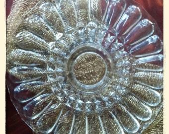 Heavy Cut  Crystal Pedestal Cake Plate.... Beautiful Find..Vintage Estate Sale Find....Pedestal Tray Wedding Gift Find dining ware