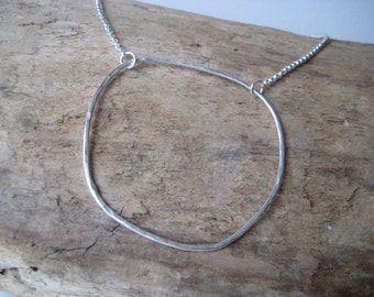 Open Circle Necklace - Minimalist Silver Jewelry, Summer Gift Jewelry, Geometric Silver Necklace, Boho Necklace, Gift for Her, Wife Gift