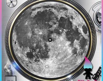 "Full Moon Turntable Slipmat - 12"" LP Record Player, DJ Slipmat- 16oz Felt w/ Glazed Bottom"