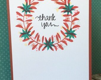 Thank You Card - Laurel Wreath Card - Cinnamon Floral Thank You Card Card - Wreath Thank You Card