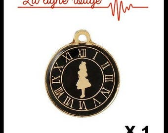 Round gold girl pendant and clock enamel 23mm x 19mm