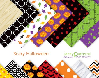 Scary Halloween digital papers pack DP105 instant download