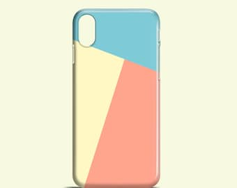 Geometric phone case / Pastel colour glossy case / iPhone X / iPhone 8 / iPhone 7 / iPhone 6 / iPhone 5S / iPhone 5 / Samsung Galaxy S7 / S6
