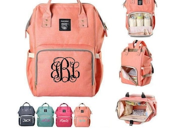 Monogram Diaper Bag Backpack, Nappy Diaper Bag, Insulated bottle pouch, Baby Bag, Carry all, Toddler bag, Grey, Gray, Coral, Navy, Hot Pink