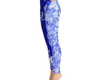 Blue White Flower Print Yoga Leggings,Capri Yoga Pants, Sport Stretch Leggings, Fitness Workout Yoga Pants Joggers Active,Solid Colors