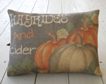 Chalkboard pumpkins burlap Pillow, Hayrides and Cider, Farmhouse Pillows, Shabby Chic, Autumn decor,  Autumn 1,   INSERT INCLUDED