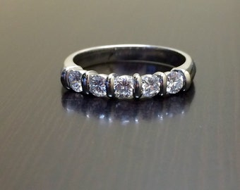 Platinum Engagement Band - Platinum Diamond Wedding Band - Platinum Band - Diamond Band - Platinum Ring - Diamond Ring - Five Stone Band