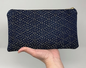 Embroidered zipper pouch | sashiko stitched faux suede clutch