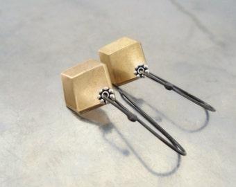 Geometric earrings row brass, drop, sterling silver oxidized black, dangle earrings, bohemian rustic golden faceted hexagon, mixed metal