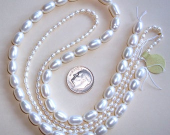 2 Strands of WHITE OVAL Fresh Water Pearls - 2 Different Sizes