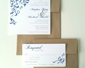 5 x 7 Perforated Flourish Wedding Invitation - Sample